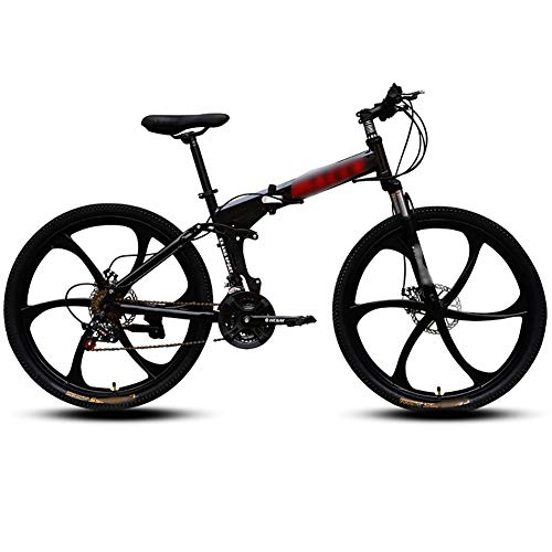 MJKT Adult Mountain Bike, 26 inch Wheels 21-Speed Bicycle Full Suspension MTB MountainTrail High Carbon Steel Folding Outroad ​​Gears Dual Disc Brakes Mountain Bicycle 04-24
