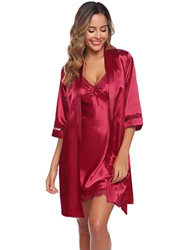 Aibrou Batas Mujer Sexy Encaje Conjuntos,Pijama de Satén Camisón Seda Elegante Cortos para Mujer Novia Dama de Honor