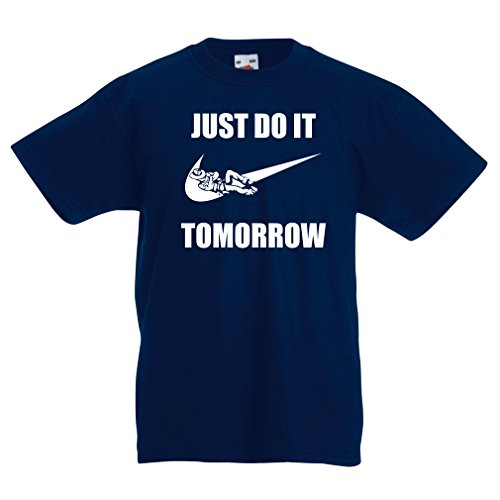 lepni.me Kids T-Shirt Just Do It Tomorrow Workout Tops Funny Sayings Parody (3-4 Years Dark Blue White)