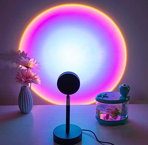 Lámpara de Proyección Sunset, Led arcoíris Proyector de puesta de sol, USB Luces del atardecer iluminación Luz de noche Vuelta romántico Atmósfera Cuarto sala juntense (arcoíris)