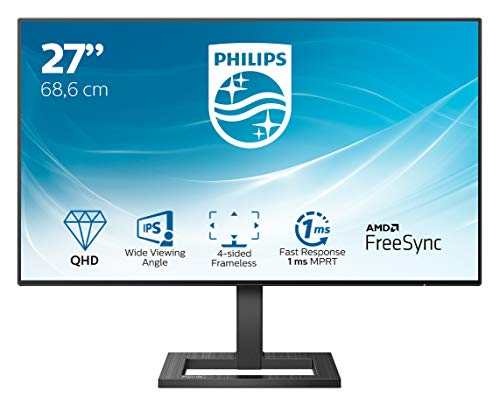 Philips 275E2FAE 68 cm (27 Zoll) Gaming Monitor (HDMI, DisplayPort, 1ms MPRT Reaktionszeit, 2560x1440 Pixel, 75 Hz, FreeSync) schwarz