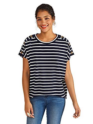 YUMI Damen Stripe Top with Button Detail Bluse, Navy, 34