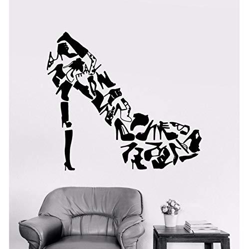 Yologg 47X42 Cm Zapatos De Tacón Alto Zapatos Pegatinas De Arte De Pared Decoración De La Sala Calzado De Mujer Tienda Moda Tatuajes De Pared Calcomanía De Vinilo