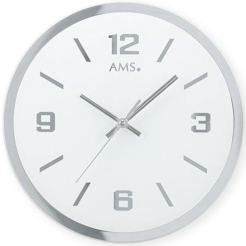 AMS 9322 - Reloj de pared (cuarzo, cristal de espejo impreso)