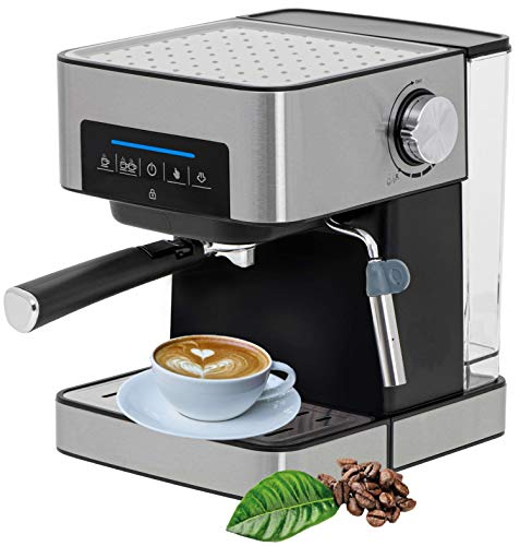 Espressomaschine | 1,6L Wassertank | 1000 Watt |15 bar | Cappuccinomaschine | Kaffeemaschine | Milchaufschäumer | Siebträger Espressomaschine | Elektrische Espressomaschine | Edelstahl Design |