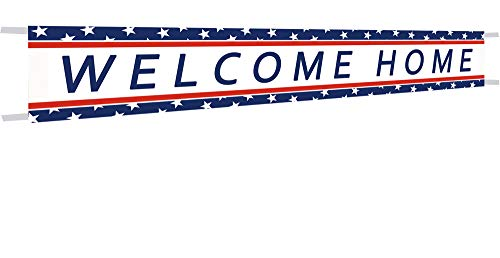 Large Welcome Home Banner,Welcome Home Bunting Banner,Homecoming Deployment Return Party Sign - 9.8 x 1.6 Feet