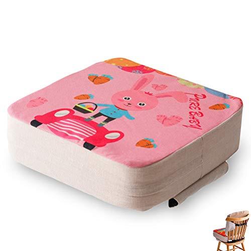 Cuscino Rialzo da Sedia per Bambini, Fansu Comodo e Facile da Pulire Smontabile Regolabile Cuscino Alzasedia Seggioloni Cuscino Seduta per Sedia da Giardino (Coniglietto rosa,40x40x10cm)