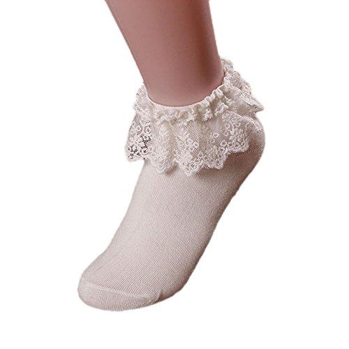 Women Lace Ruffle Frilly Ankle Socks Casual Lace Trim Cute Princess Short Dress Socks (White )