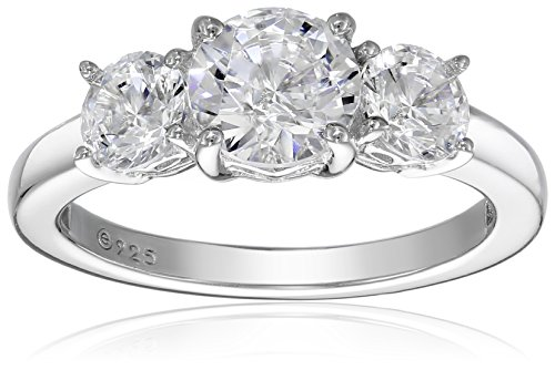 Platinum-Plated Sterling Silver Round 3-Stone Ring made with Swarovski Zirconia (2 cttw), Size 6