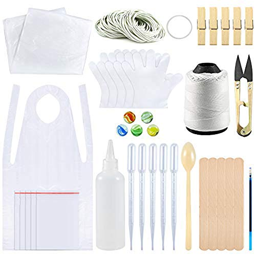156 Stück DIY Tie Dye Kit für Kinder Adult Party Group, T-Shirt Stoff Tie Dye Kits mit 20 Stück Plastikhandschuhen, 100 Stück Gummibänder, versiegelte Taschen, Schürzen, Schutztischdecke und Werkzeuge