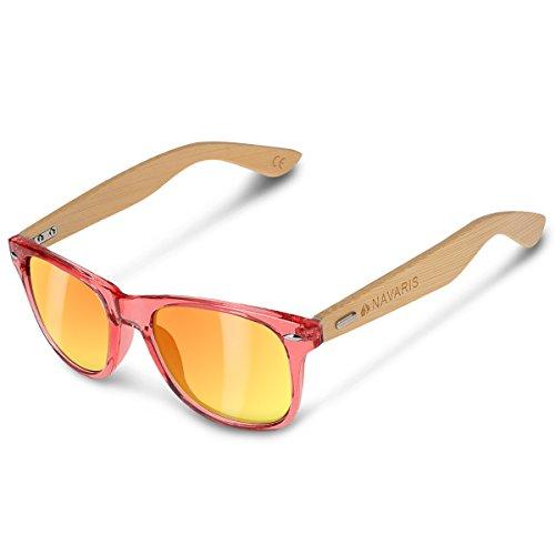 Navaris Gafas de sol UV400 - Gafas de madera para hombre y mujer - Gafas de sol con patillas de madera - Rosa y amarillo