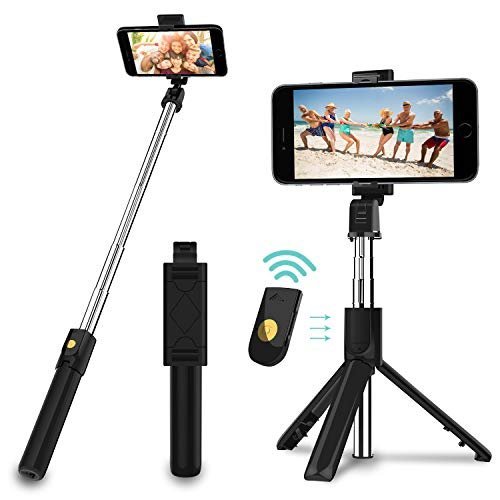 SYOSIN Selfie Stick, Extendable Bluetooth Selfie Stick Tripod with Detachable Wireless Remote and Tripod Stand for Travel, Compatible with iPhone/Samsung/Huawei and More thumbnail
