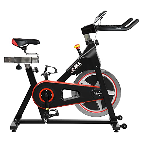 JLL® IC300 Indoor Exercise Bike 2021, Cardio Workout, 18kg Flywheel Smooth Cycling, Adjustable Handlebars & Seat, Heart Rate Sensors & 6-Function Monitor + Pulse (Black).
