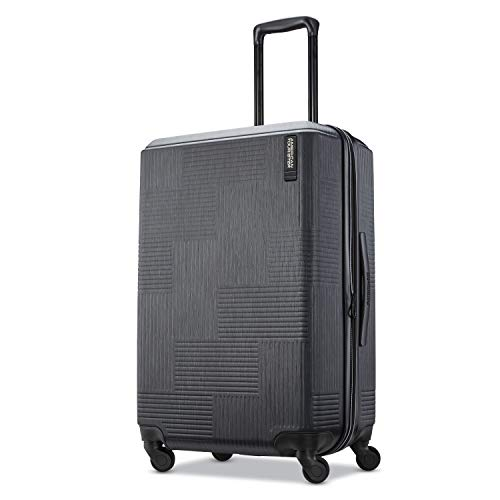 American Tourister Stratum XLT Expandable Hardside Luggage with Spinner Wheels, Jet Black, Checked-Medium 25-Inch