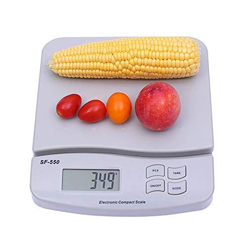 LJP 25 Kg / 55 LB Básculas Digitales de Cocina, Alta Precisión Multifunción Cocina Tara Nutricional Análisis Escala para Comida - Gris
