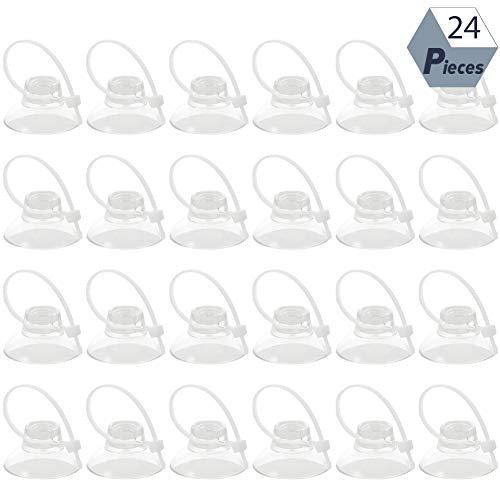24 Stück Aquarium Saugnapf mit 24 Stück Kabelbindern, Klare Saugnäpf zum Binden von Moos Garnelen Luftschlauchhalter Schlauchhalter