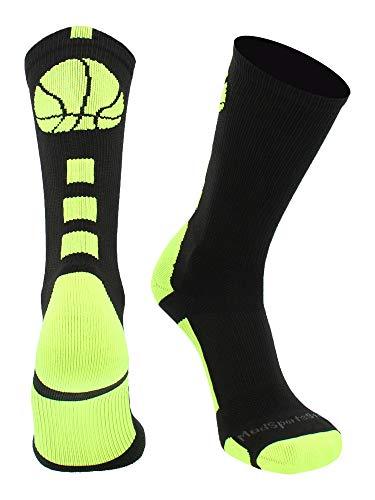 MadSportsStuff - Calcetines de baloncesto (más de 20 colores), S, Negro/Verde eléctrico