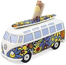 BRISA VW Collection - Volkswagen Samba Bus T1 Camper Van Money Bank/Piggy Bank/Savings Box - Gift Idea/Fan Souvenir/Retro Vintage Article (Ceramic/1:18/Flower Power)