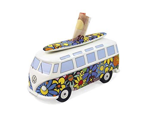 Brisa VW Collection - Volkswagen Furgoneta Hippie Bus T1 Van Hucha Vintage de Cerámica en Caja de Regalo, Caja de Dinero Reutilizable, Alcancía como Souvenir (Escala 1:18/Flores/Multicolor)