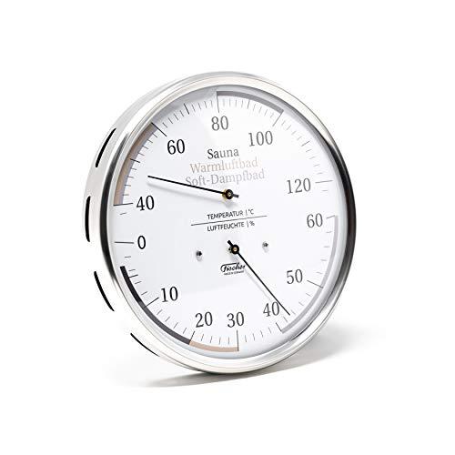 Fischer 184.01 Sauna Universal-Thermohygrometer - 130mm Haar-Hygrometer u. Bimetall-Thermometer aus Edelstahl Made in Germany