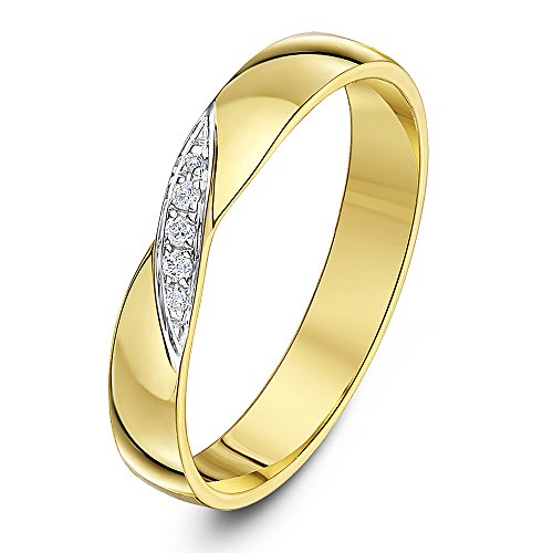 Theia 9ct Yellow Gold 0.04ct Diamond Cross Over 3.5mm Wedding Ring - Size K