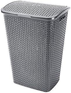 CURVER | Coffre à linge 55L Aspect rotin My Style, Argent, 42,8 x 33 x 60,4 cm, Plastique