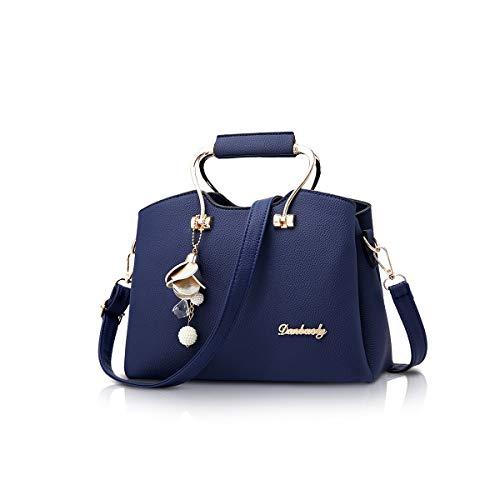 NICOLE&DORIS Damen Handtaschen Schultertasche mit Tragegriff Umhängetasche für Damen Ledertasche mit langem Riemen Dunkelblau