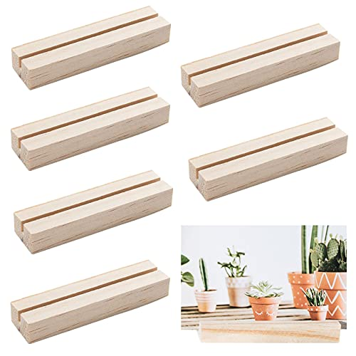 OLYCRAFT 20pcs Wood Place Card Holders Wood Sign Holders Table Number Stand for Wedding Party Events Decoration Double Side Display Mini Blackboard