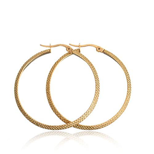 UM Jewelry Classic Round Womens Hoop Earrings Surgical Stainless Steel Hypoallergenic,Gold Tone
