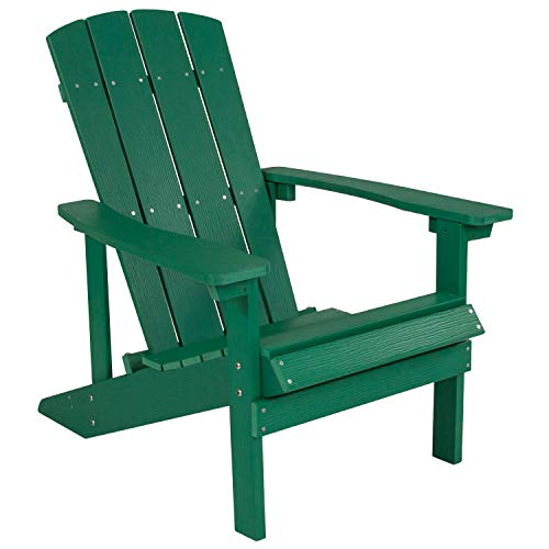 Flash Furniture Charlestown All-Weather Adirondack Chair in Green Faux Wood