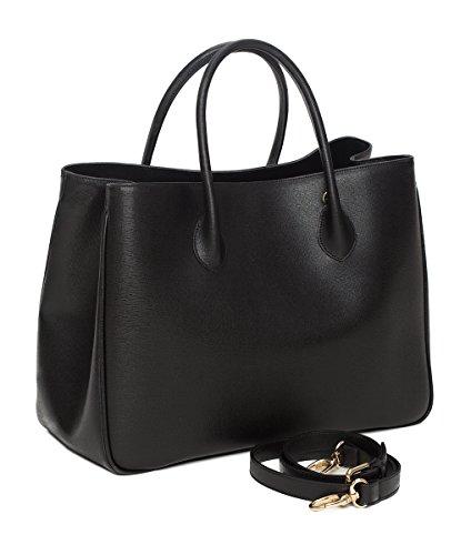 """Winter & Co. Daybag """"L"""" Aktentasche Damen Handtasche Umhängetasche - Businesstasche Groß aus edlem Leder handgefertigt In Italien - Mit Toller Innenaufteilung elegant und funktional (schwarz)"""