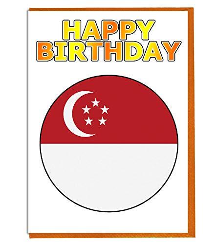 Singapore Vlag - Verjaardagskaart - Vriend - Familie - Collega - Mate - Boss - Loved One