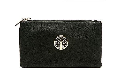Long & Son 3141 Damen-Clutch, Handtasche, Schultertasche, Umhängetasche, klein, Schwarz - Schwarz - Größe: Einheitsgröße