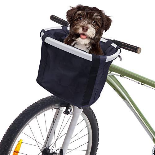 Cesta para Bicicletas, Transportador para Perros y Mascotas, Bicicletas de Montaña Cestas Delanteras Accesorios para la Compra, Plegable Fácil de Instalar para Mujere (Negro)