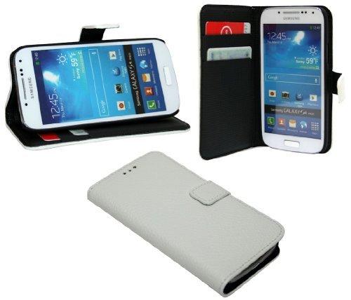 ENERGMiX Buchtasche Hülle kompatibel mit Samsung Galaxy S4 Mini i9195 Case Tasche Wallet BookStyle mit STANDFUNKTION Weiß