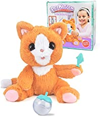 Cat Kitty Stuffed Animal Plush Toy for Kids, Interactive Stuffed Kittens Plush Toy Kitten Cat Pet Cat Toy with Feeding Function and Meow Sounds, Great Gift for Girls, Boys, Child, Kids, Toddler