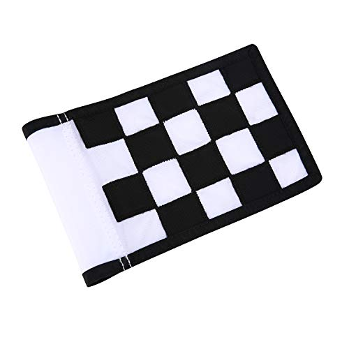 konday Golf Flag,Green Golf Flags,Solid Nylon and Checkered Training Golf Putting Green Flags, Indoor Outdoor Backyard Garden Portable Golf Target Flags,8.7inch6inch (White-Black)