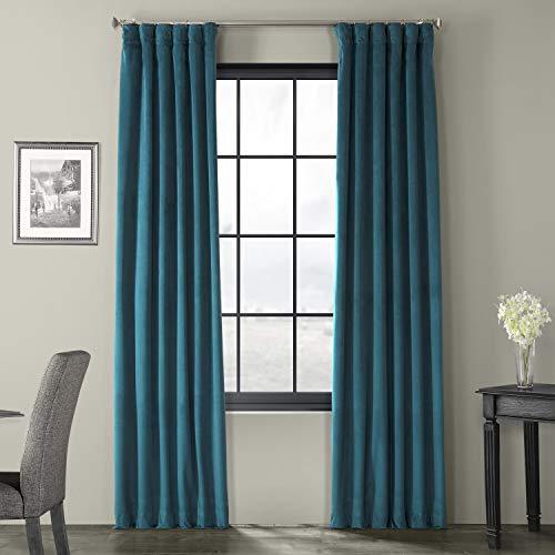 HPD Half Price Drapes VPCH-140804-108 Signature Blackout Velvet Curtain (1 Panel), 50 X 108, Everglade Teal