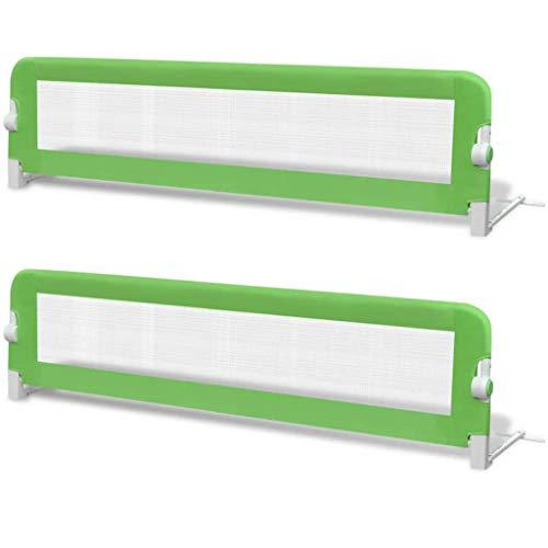 vidaXL 2x Barras de Seguridad para Cama Niño Verde 150x42 cm Mueble Infantil