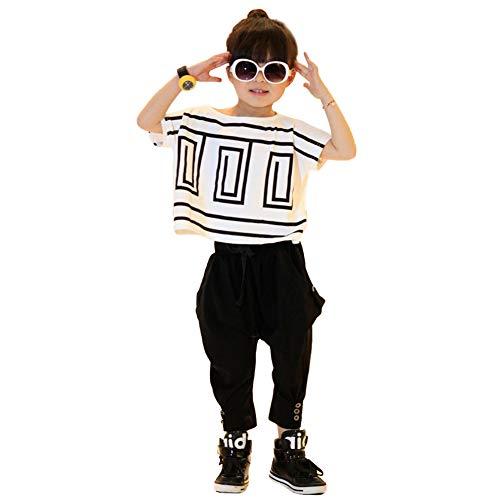 Chándal de Verano para niña, Camiseta de Manga Corta y Pantalones harén