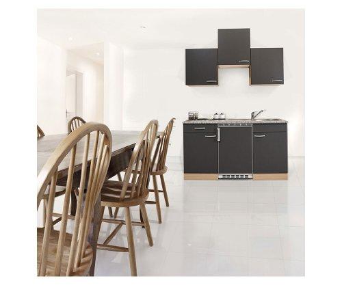 Respekta KB150BG Keukenblok Keukenblok 150 cm beukengrijs met inbouwkoelkast, inbouwspoelbak, kookplaat