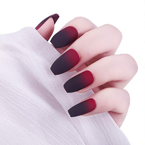Laza 24 Pcs Ombre Fake Nails Ballet Ballerina Coffin Full Cover Gradient Medium Matte Artificial Acrylic Nails with Glue Sticker Nail File Wood Stick - Black Red Gradual