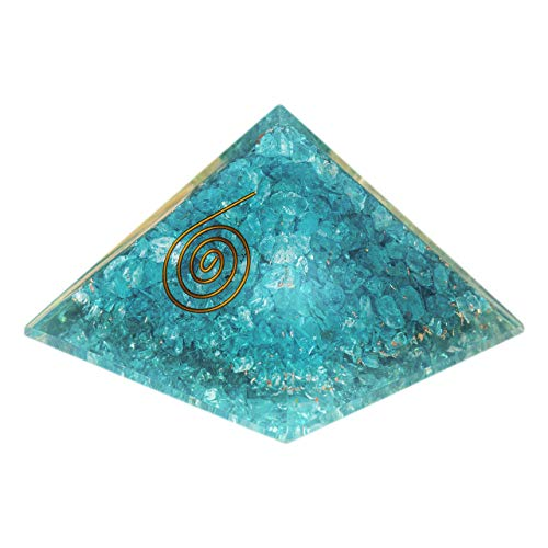 PURA ESPRIT Aquamarine Crystal Orgone Pyramid – Emf Protection Anxiety Relief Orgonite Pyramid Crystals for Healing – Sleep Aid Smudge Kit Reiki Supplies