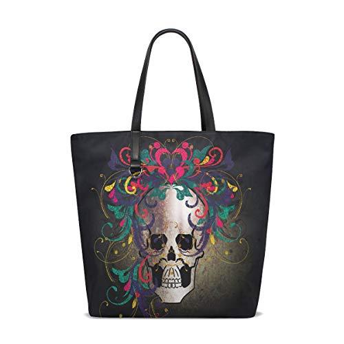 NaiiaN Umhängetaschen für Frauen Mädchen Damen Student Einkaufstasche Leichte Gurt Geldbörse Shopping Brief Schädel Blumenhaar Handtaschen