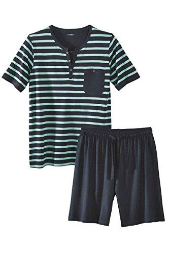 Livergy Herren Pyjama/Shorty/Schlafanzug - 2-Teiler Navy - Gestreift XL 56-58