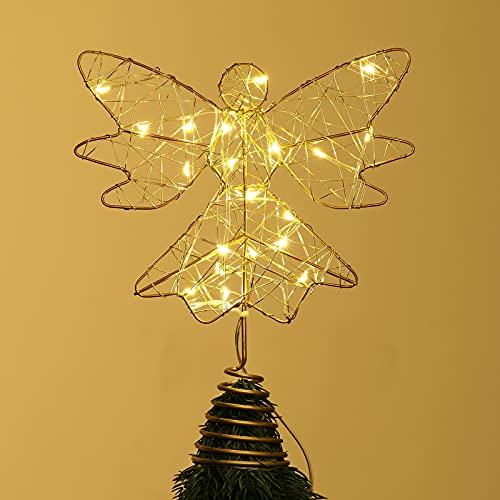 Roylvan Puntale Albero di Natale Forma Angelo con Illuminazione 20 Luci LED Puntale Alimentazione 3 Batterie, Accessori di Decorazione Albero, Punta per Albero di Natale, Angelo Oro