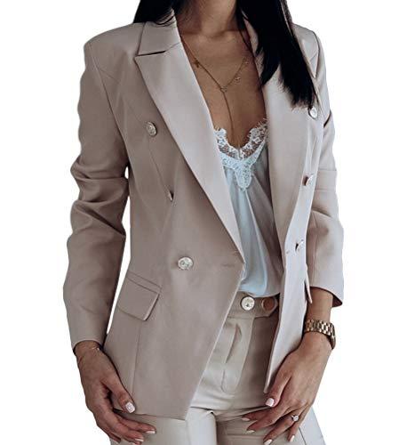 Onsoyours Donna Manica Lunga Colletto Cappotto Elegante Ufficio Business Blazer Top Gilet Corto OL Carriera Tailleur Giacca con Pulsante A Beige XL