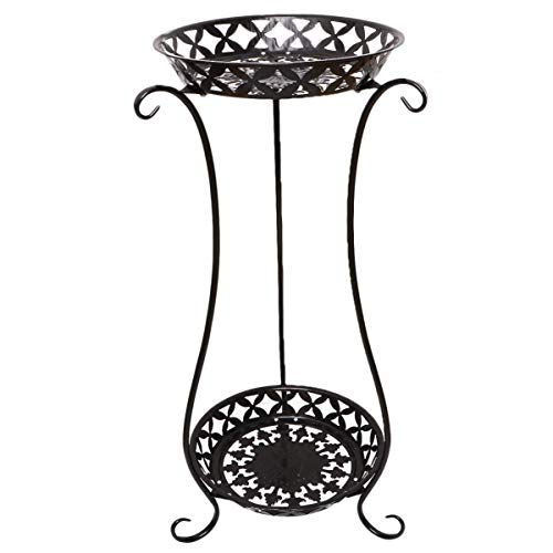 Flowerpot Stand Double Layer Indoor Schmiedeeisen Regal Pflanzenregal Outdoor Garden Blumentöpfe Display Halter Schwarz Für Home Outdoor Gartendekoration
