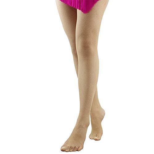 DANCEYOU Principiante Calcetines de Rejilla Medias Pantimedias Fishnet Tights Baile Pantyhose Cubrir le pie para Niña y Mujer Tostadas L/XL