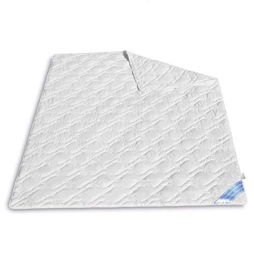 VitaloEssential Sommerdecke 155 x 220 cm - atmungsaktive Seide Decke - Bettdecke aus 60% Wildseide- und 40% Baumwoll-Füllung - waschbare Schlafdecke - Sommerdecke für Allergiker